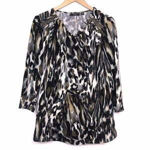 SUSAN GRAVER Leopard Cheetah Animal 3/4 Sleeve Top